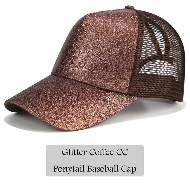 adaa6ae9d13 2018 CC Glitter Ponytail Baseball Cap Women Snapback Hat Summer Messy Bun  Mesh Hats Casual Adjustable Sport Caps Drop Shipping