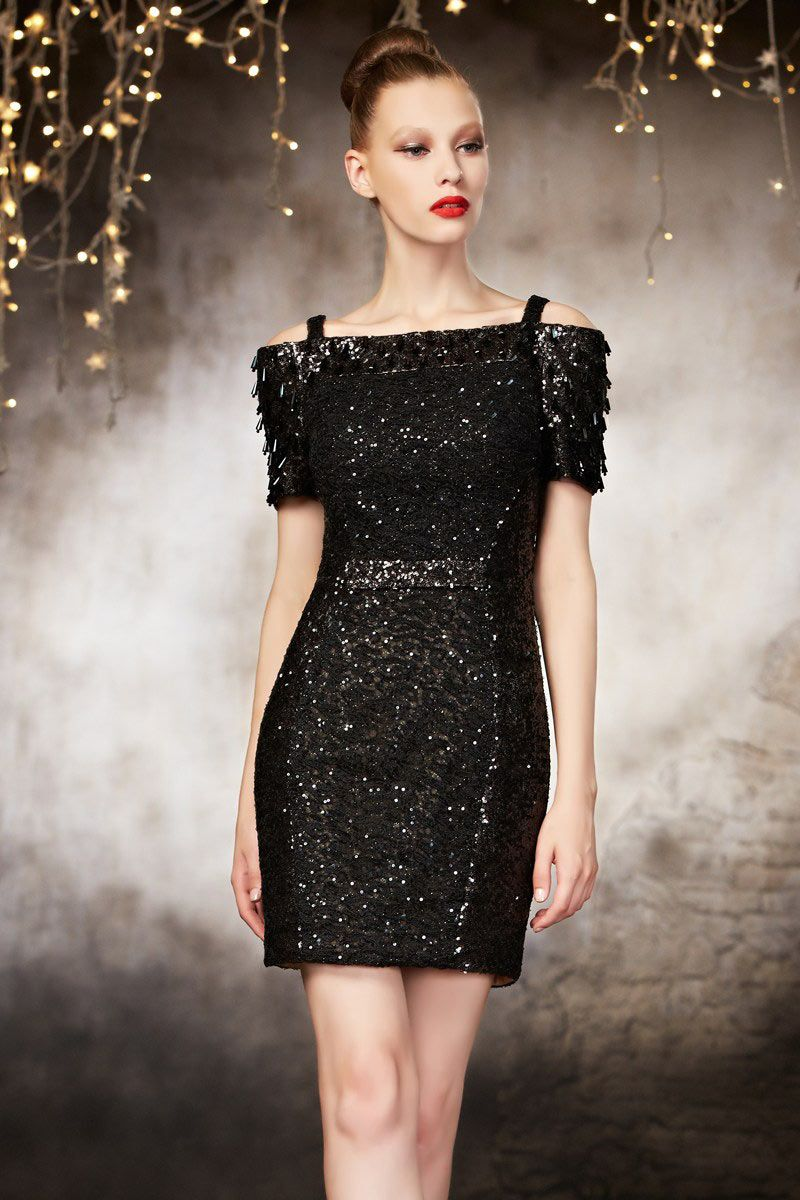 Modern sequins bateau short sleeves black evening party gown