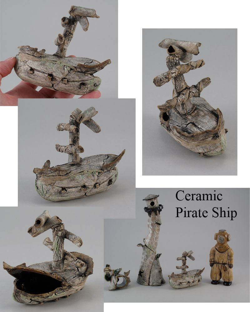 Jamie e hatch ceramic pirate ship for an aquarium safe for Fish tank pirate ship