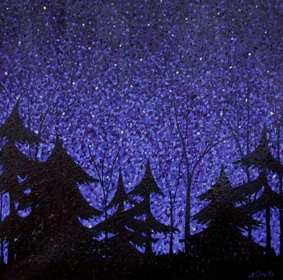 Starry Enchanted Forest Night Sky Landscape By Annarobertsart Sky Landscape Starry Night Sky Night Skies