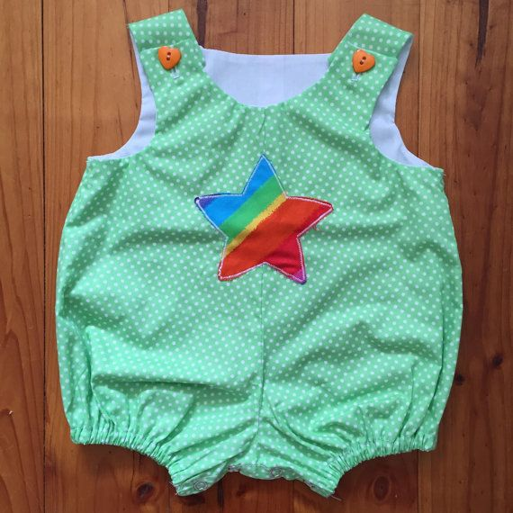 Baby Romper Unisex Green Polka Dot with a by SpirwellSewing