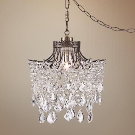 Brielle Antique Brass 12 Wide Crystal Plug In Swag Pendant Y9102 Lamps Plus Swag Pendant Light Crystal Plugs Plug In Pendant Light