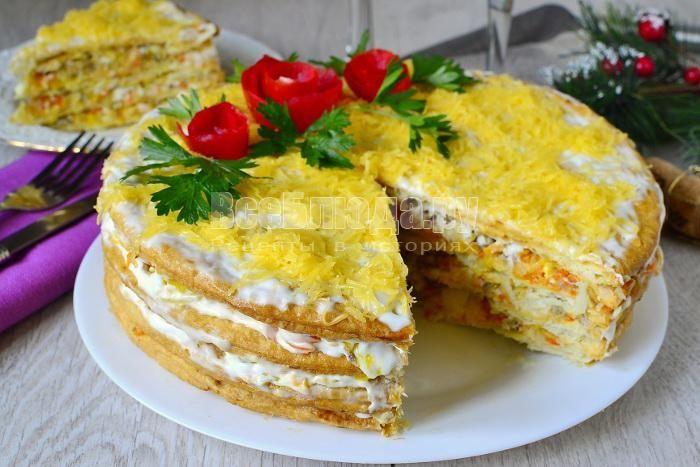 Закусочный торт из коржей для Наполеона с рыбными ...
