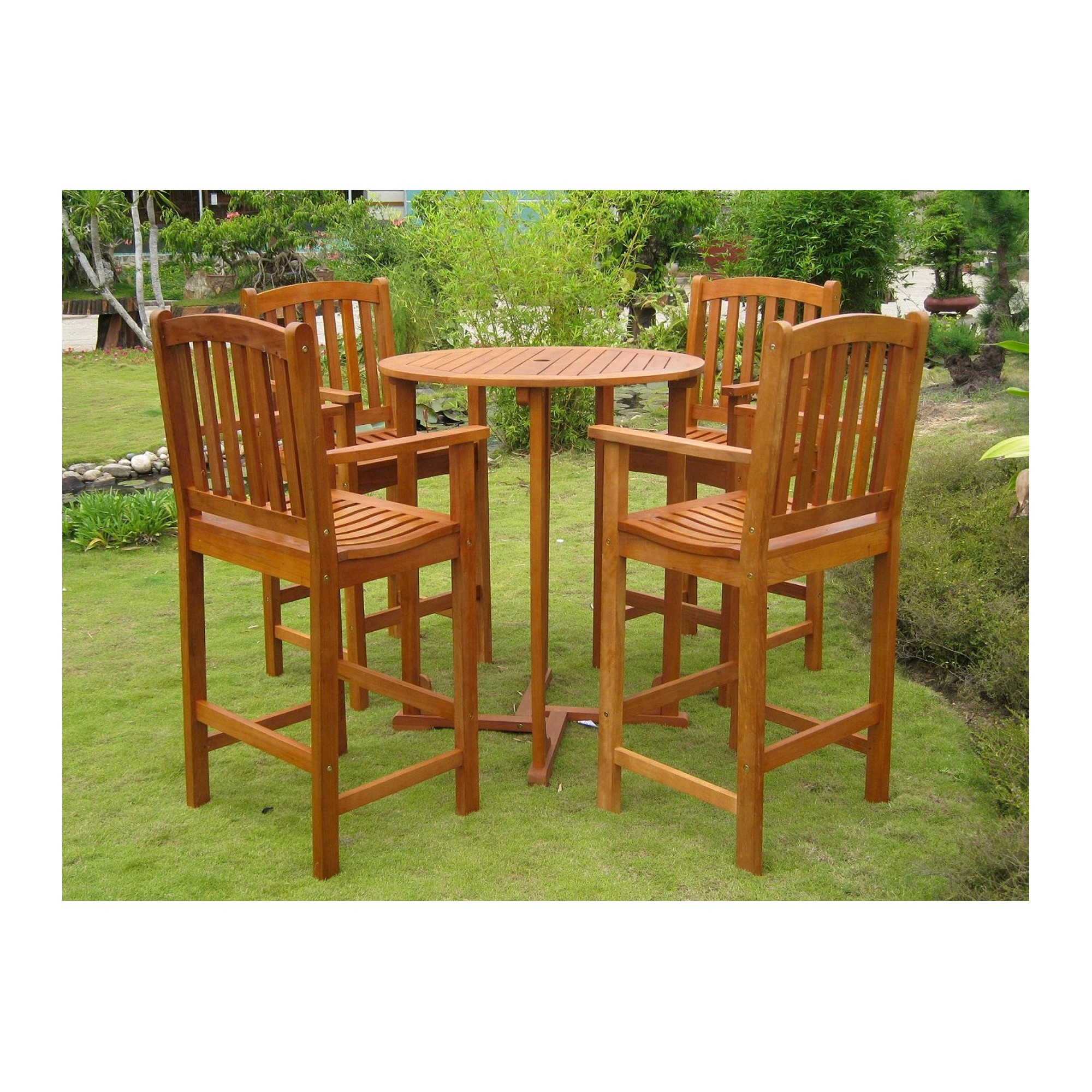 Royal tahiti albacete 5 piece wood bar height patio dining furniture set