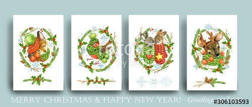 Merry Christmas Happy New Year greeting card set of festive xmas decoration. Cute holiday celebration invitation collection. Cartoon winter forest animal. reindeer watercolor illustration. , #Aff, #festive, #set, #xmas, #Cute, #decoration #Ad