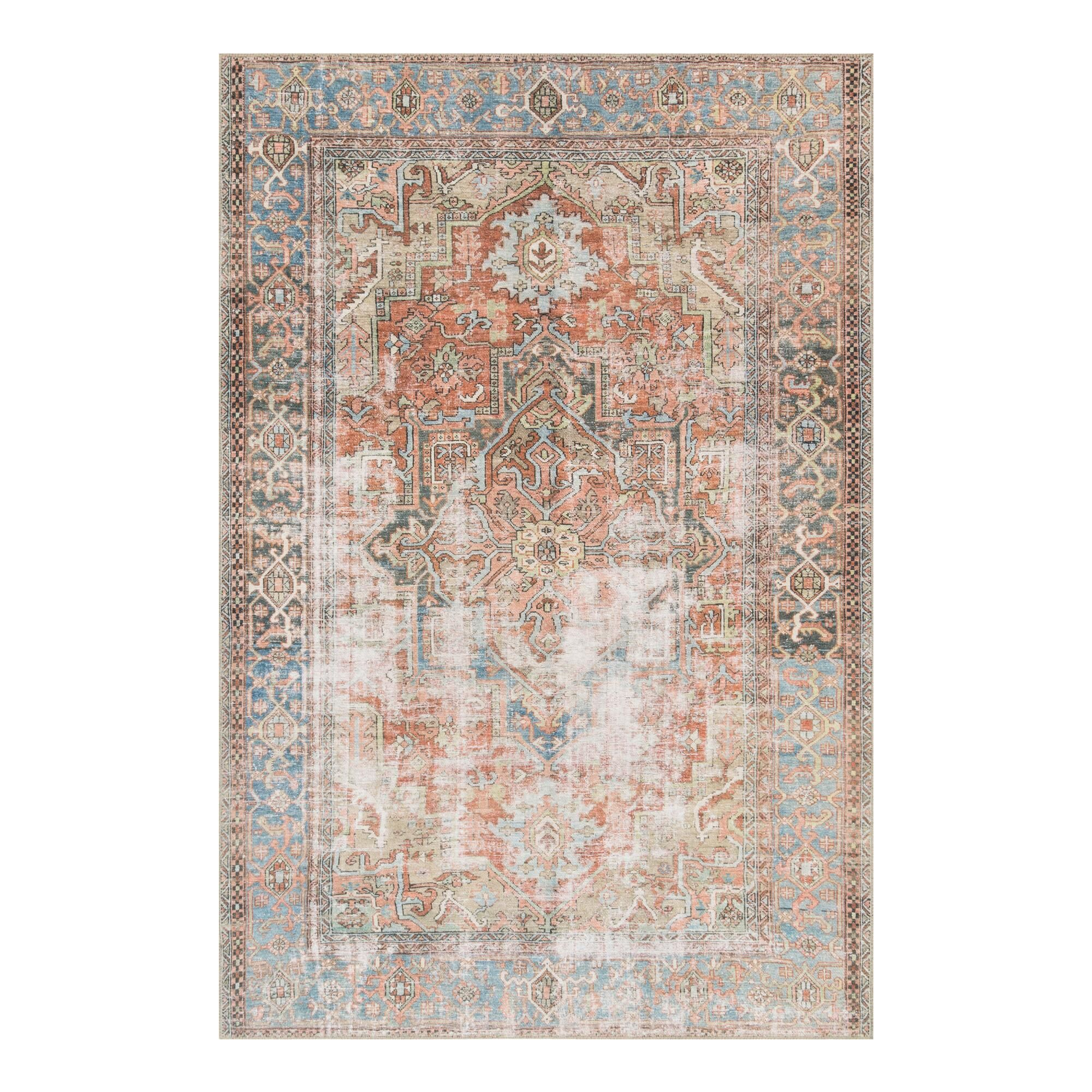 Slate Blue Distressed Presley Area Rug Gray Polyester 4 X 6