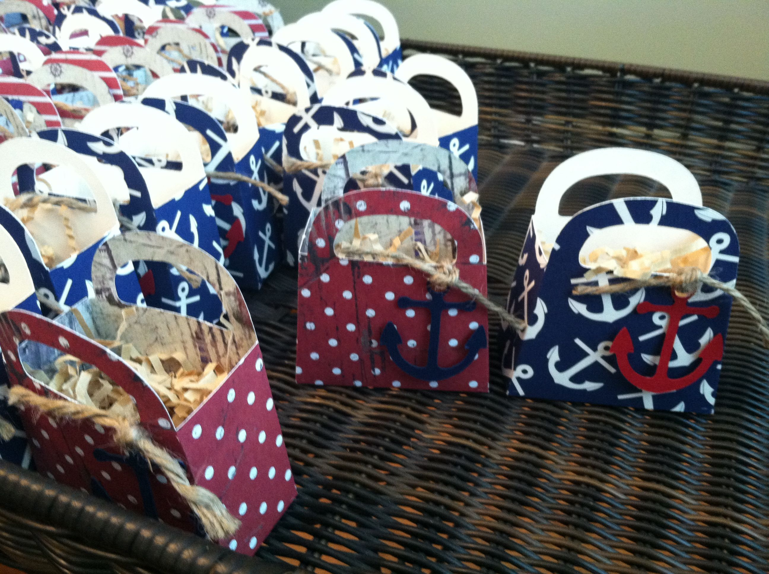 Mini Nautical Gift Bags Made With Cricut Machine Best 2 Sided Paper