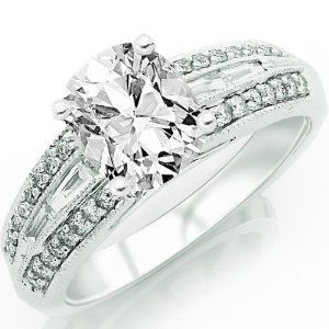 0.93 Carat Cushion Cut / Shape 14K White Gold Vintage Channel Set Tapered Baguette And Pave Set Round Diamond Engagement Ring ( E-F Color , SI1 Clarity ) - http://finejewelrygalleria.com/jewelry/wedding-anniversary/engagement-rings/093-carat-cushion-cut-shape-14k-white-gold-vintage-channel-set-tapered-baguette-and-pave-set-round-diamond-engagement-ring-ef-color-si1-clarity-com/