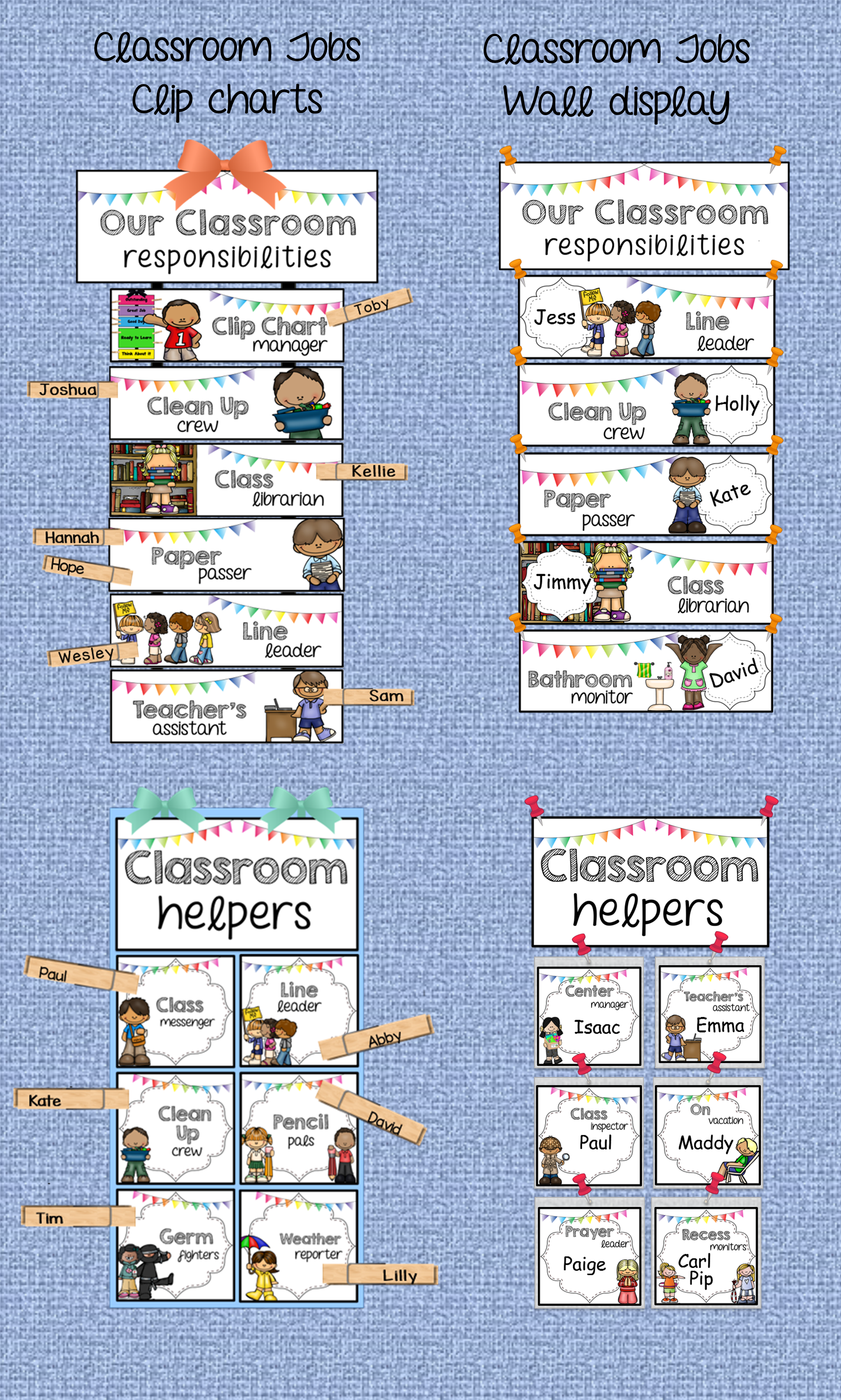 classroom jobs crisp white editable clip chart or wall display