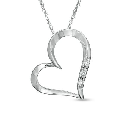 Zales Diamond Accent Looping Heart Pendant in 10K White Gold Qv7aIq9