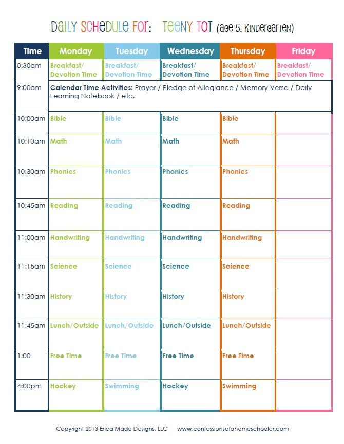 Kindergarten Daily Schedule