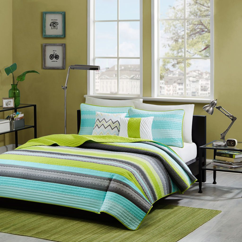 Teal Blue Green Stripe 5pc QUEEN Coverlet Quilt Gray Grey Chevron Striped Teen - Quilts, Bedspreads & Coverlets