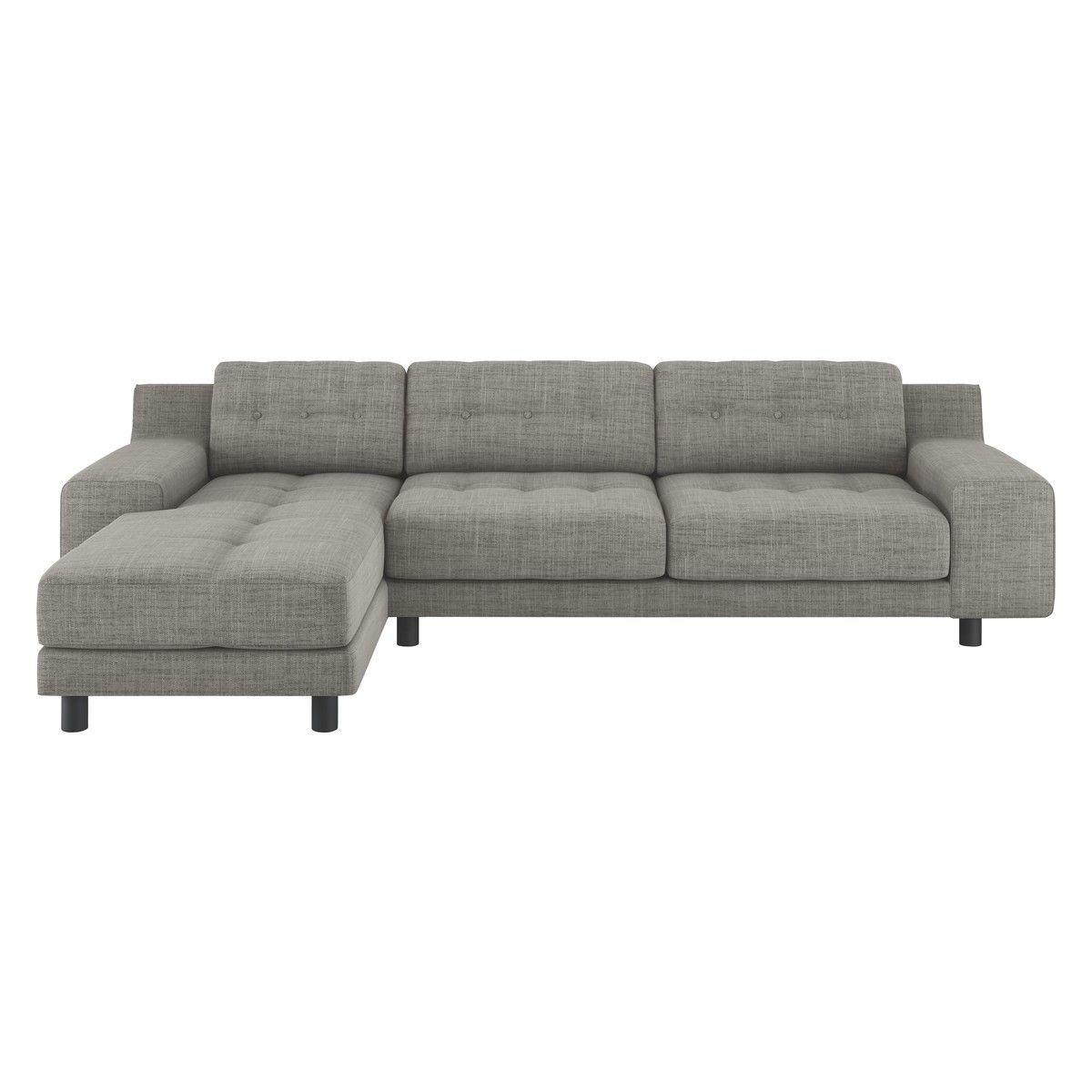 HENDRICKS Black And White Italian Woven Fabric Left Arm Chaise Sofa
