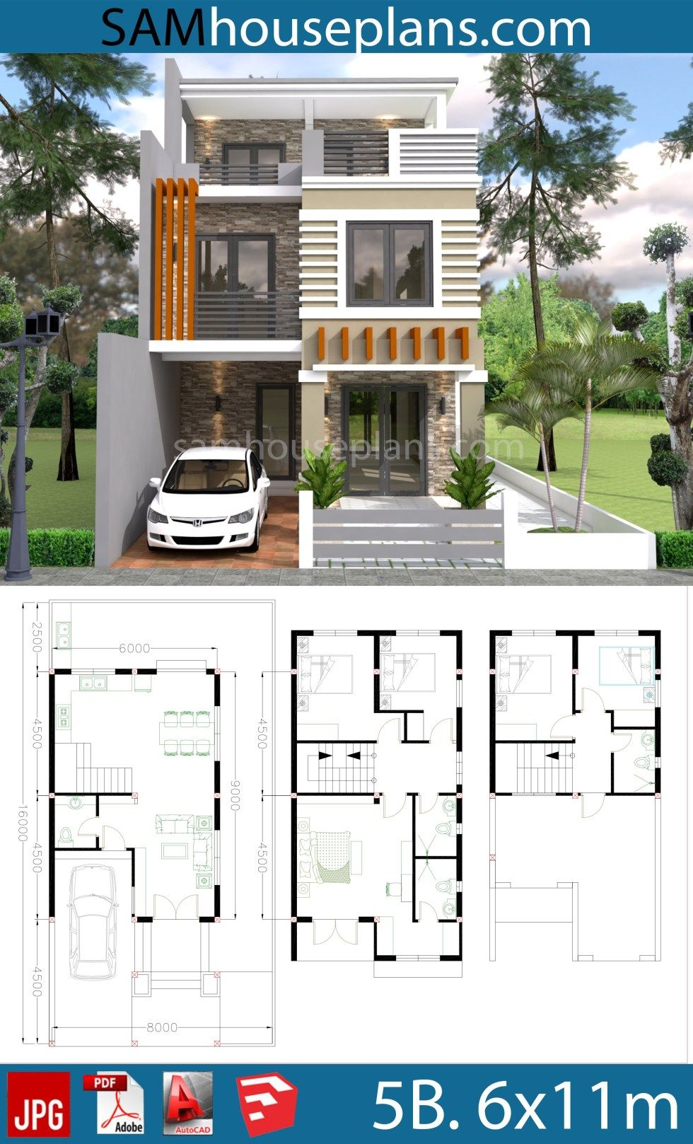 House Plans 6x11m With 5 Bedrooms Plot 8x16m Sam House Plans Duplex House Design 3 Storey House Design House Construction Plan