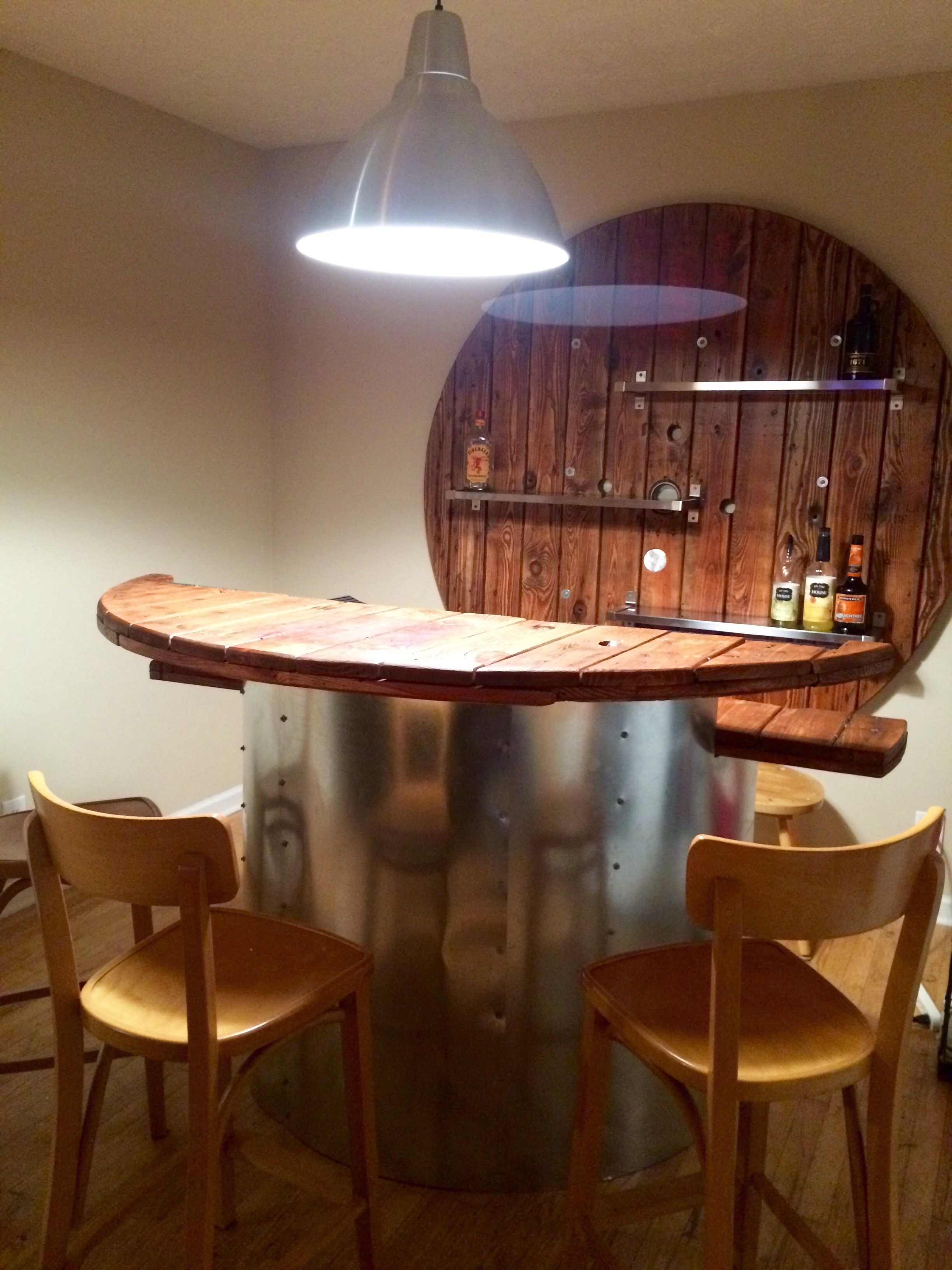 Home Bar from Wooden Electical Spool | Kabeltrommel, Kabel und Schaukeln