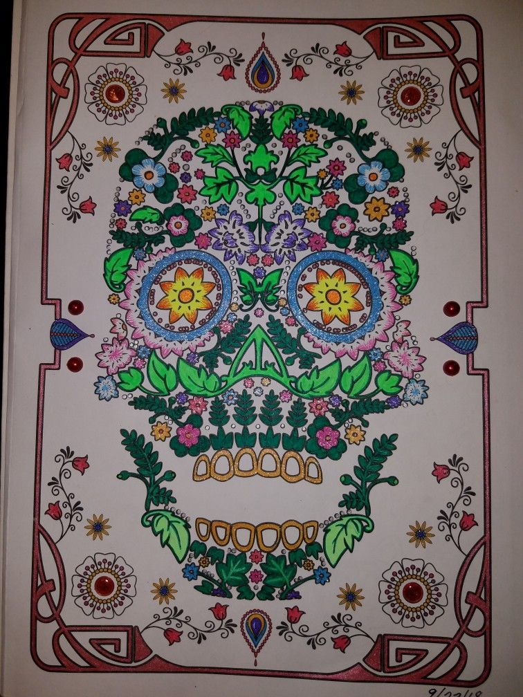 Day Of The Dead Advanced Coloring Done With Gel Pens And Stickers. Day Of  The Dead Art, Colorful Art, Sugar Skull Art