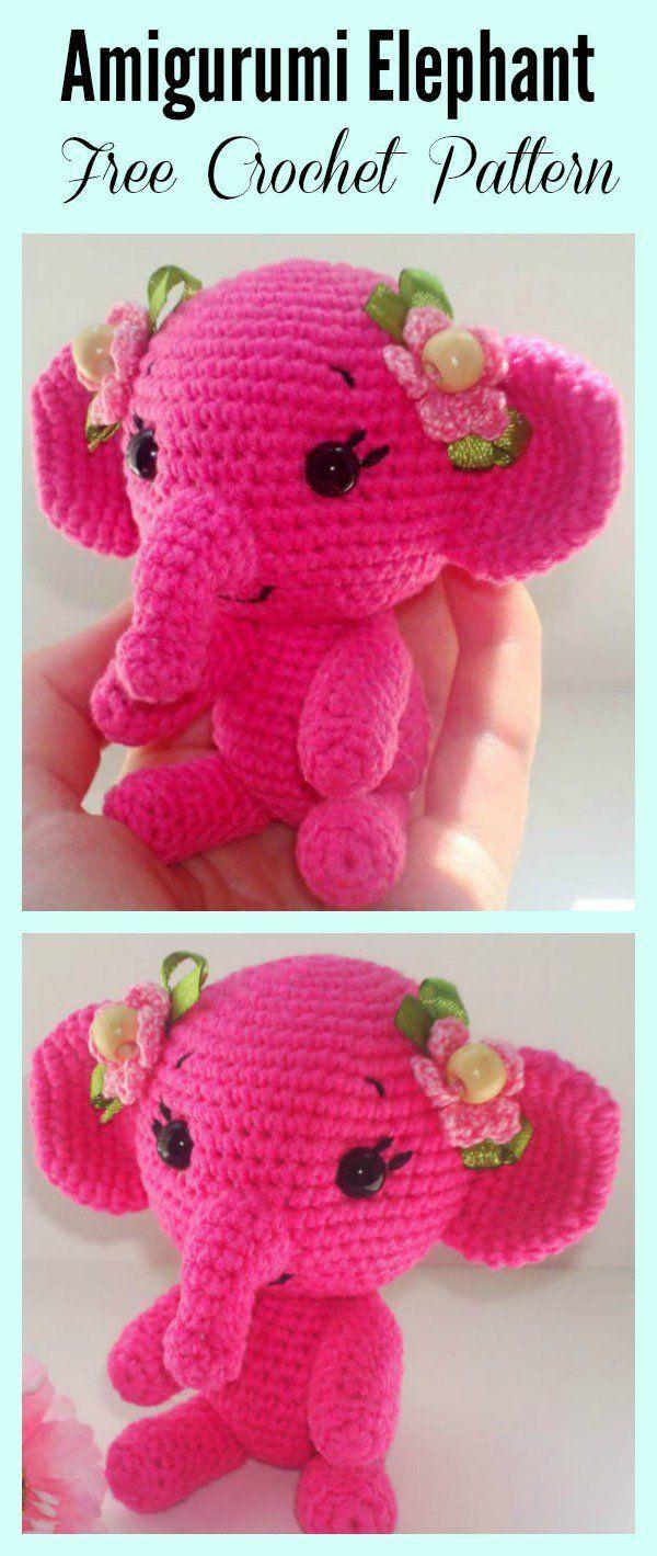 Adorable Crochet Elephant Amigurumi Free Patterns | Elefantes y Tejido