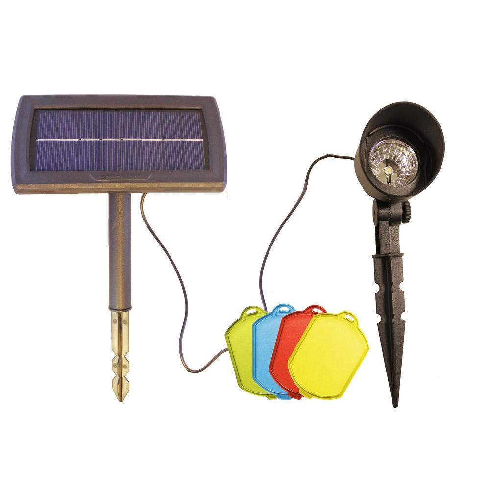Gama Sonic Solar Powered Black Integrated Led Spotlight With Color