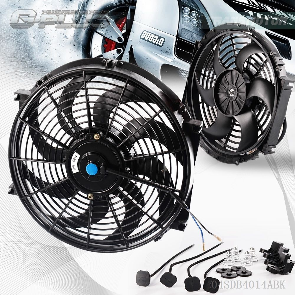 14 Universal Slim Pull Push Racing Electric Radiator Engine