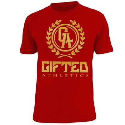 Red and Gold Foil Logo t-shirt. Available exclusively in our online store.