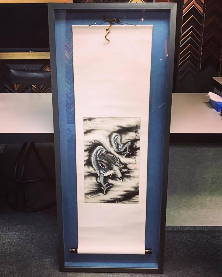 Massive Asian scroll custom framed using textured acid-free matting ...