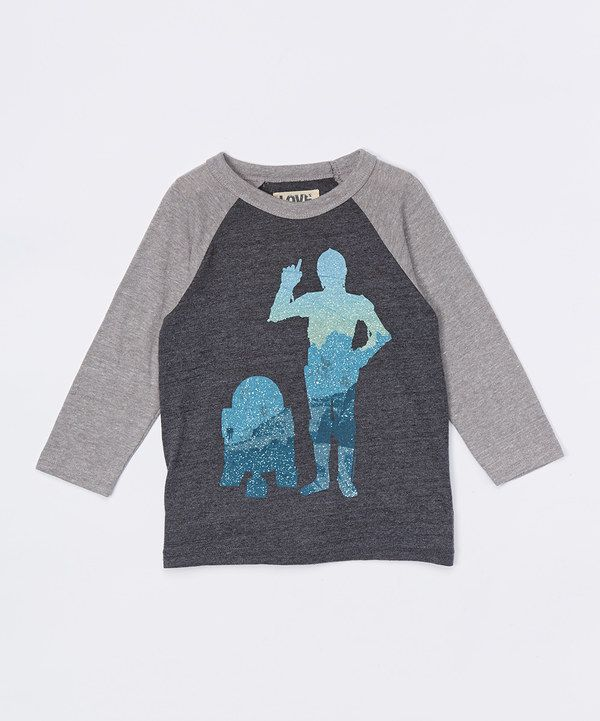 Look at this Charcoal & Gray C-3PO & R2-D2 Raglan Tee - Infant, Toddler & Boys on #zulily today!