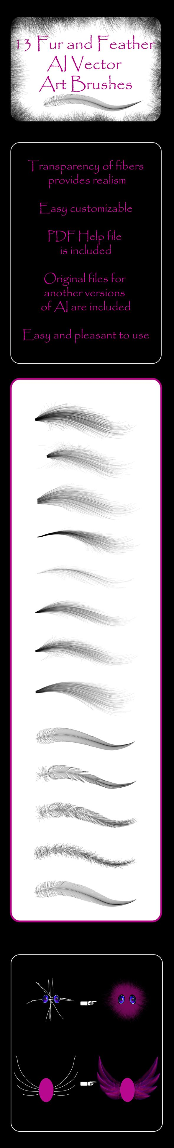Fur And Feather 13 Fluffy Vector Art Ai Brushes Miscellaneous