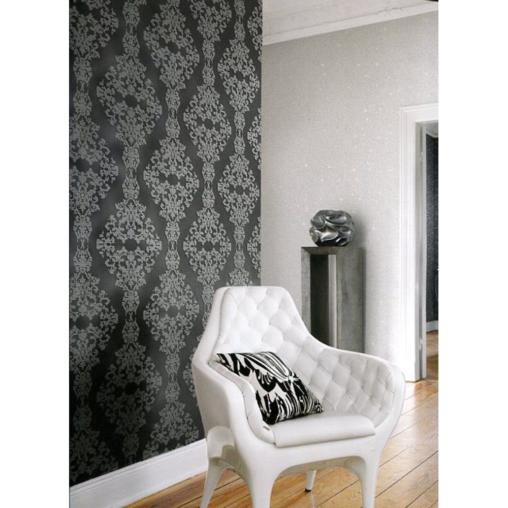 Rasch Diamond Dust Damask Motif Embossed Pattern Silver Black Wallpaper Amazon Co Uk Kitchen Home Want It On One Wall Of My Kit Black Wallpaper Rasch Home