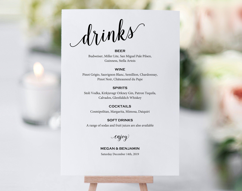 Cheers Bar Sign Bar Menu Sign Template Edit with TEMPLETT Wedding Bar Sign Printable WLP-ELE 455 Bar Menu 5x7 and 8x10
