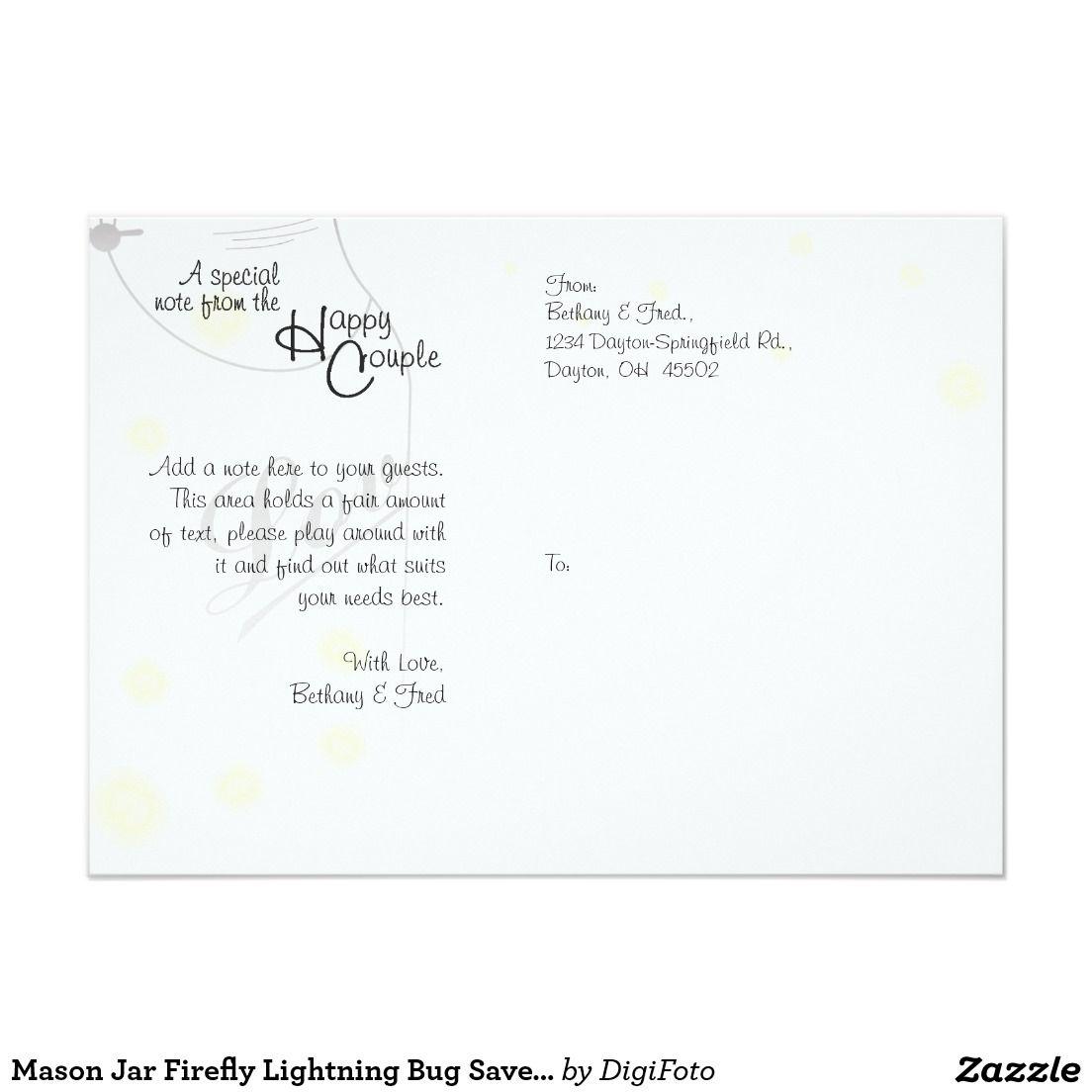 Mason Jar Firefly Lightning Bug Save The Date Card | Weddings