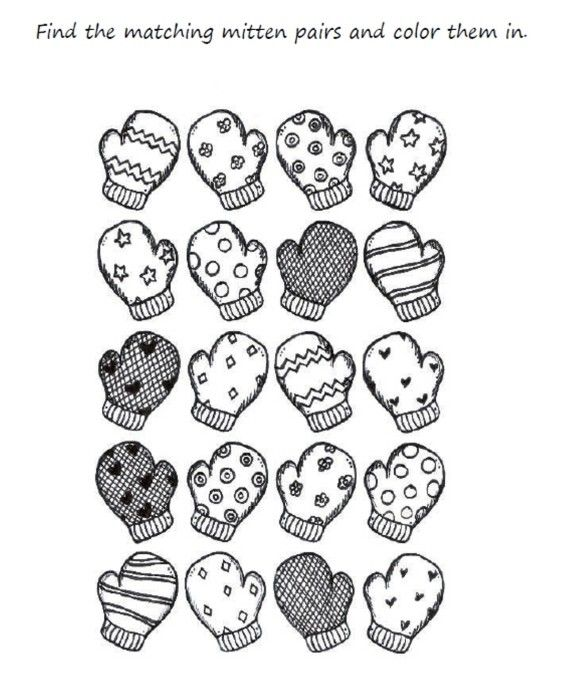 preschool mitten winter coloring pages printable zima