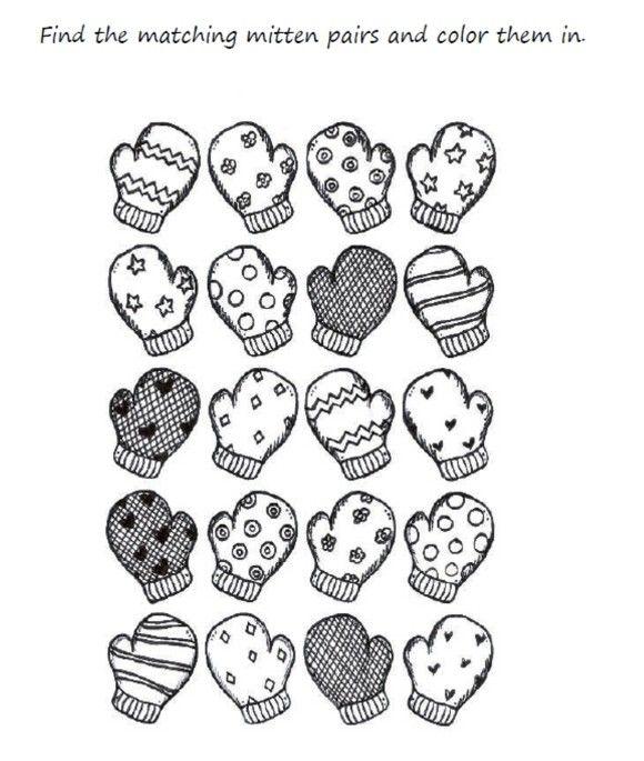 Preschool Mitten Winter Coloring Pages Printable | Zima | Pinterest ...