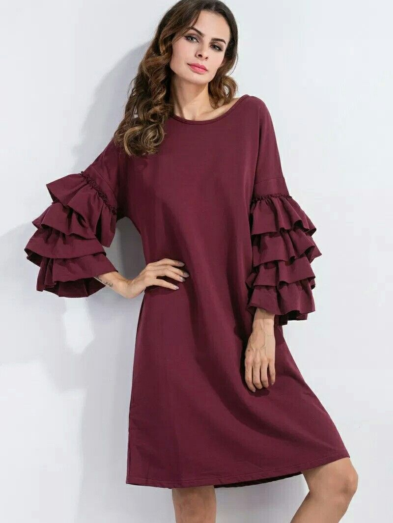 40f398745cf Tiered Ruffle Sleeve Tunic Dress#wine dress# comfy dress# streat fashion#chic  dress Ecorean.com#ecorean
