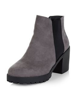 Grey Suedette Chunky Chelsea Boots  | New Look