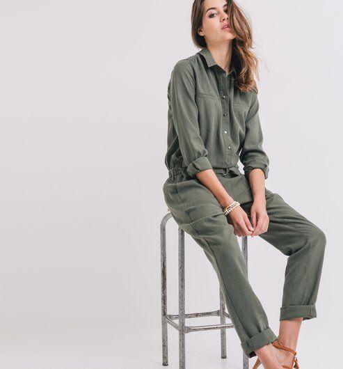 dcb25ac04cd826 Kombinezon damski khaki - Promod | styl | Combinaison pantalon femme ...