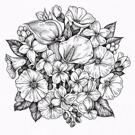 Simple Easy Tutorial Doodles Aesthetic Simple Easy Tattoo Art Arrangement Plant Drawing Black And Flower Drawing Flower Coloring Pages Coloring Pages
