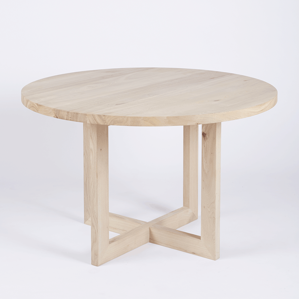 American Contemporary Furniture Designer Round Solid Oak Timber Dining Table Contemporary