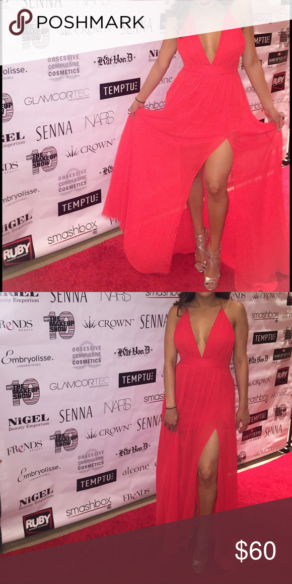 7ec1d91635 Red Crisscross back, high slit in front maxi dress Bright red. Sexy but  elegant. Dresses Maxi