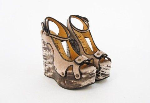 Lanvin NWOB Beige/Black Suede Platform Open-Toe Wedge Sandals SZ 37