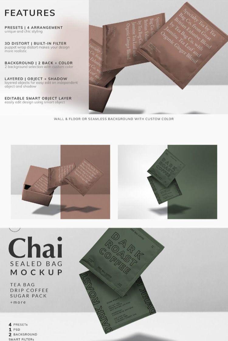 Download Chai Tea Bag Sealed Bag Mockup Bag Mockup Tea Bag Make Design