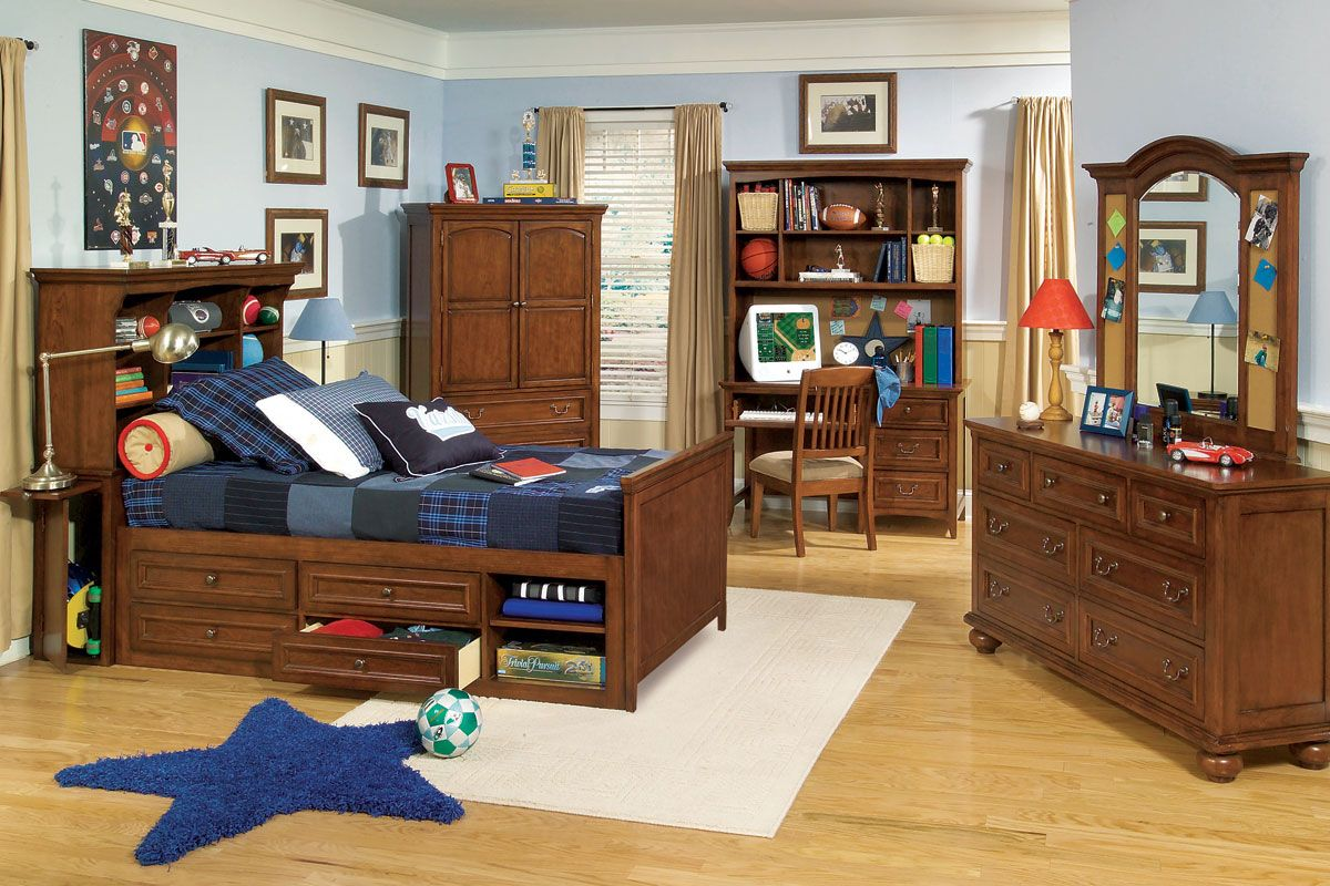 Garrett twin or full boys wood bedroom inspiration furniture set