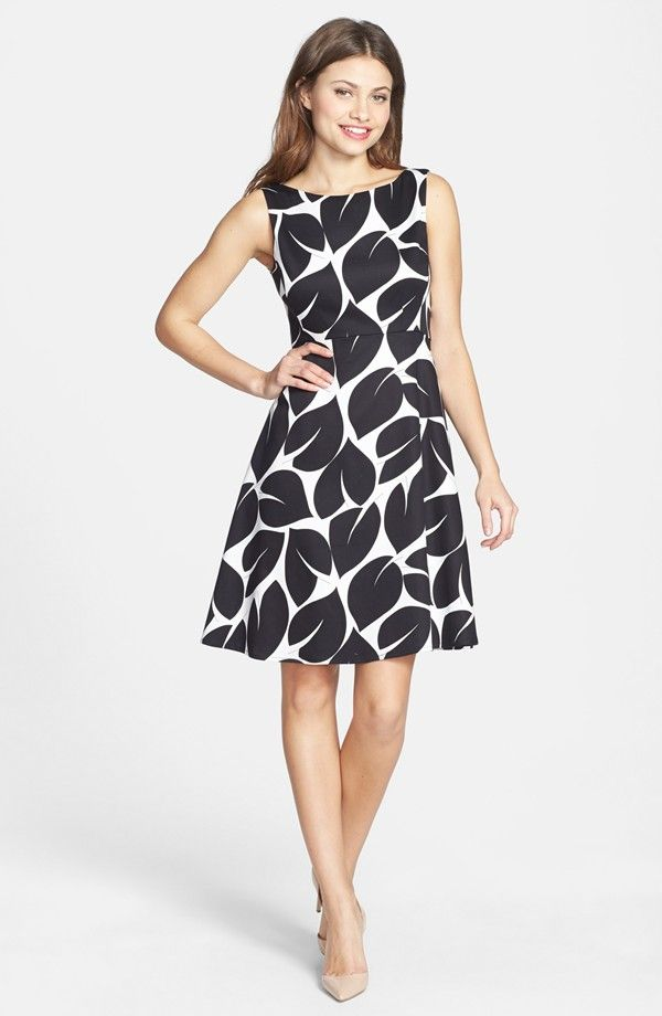 971416616b354 ... Over 40 - Figure Flattering Fashion Outfits for Women. black and white  fit and flare dress