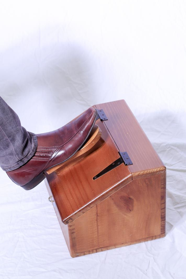 Shoe Shine Box Pine Footrest On Lid And A Lockable Compartment