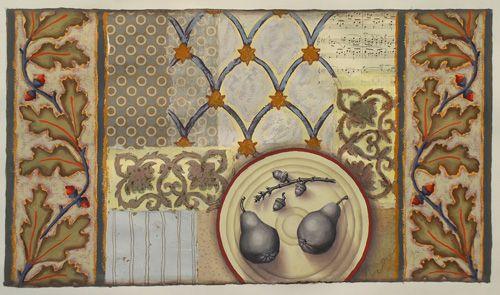 Art, painting, mixed media, collage, pears, acorns, oak leaves, pattern. www.rachelpaxton.com