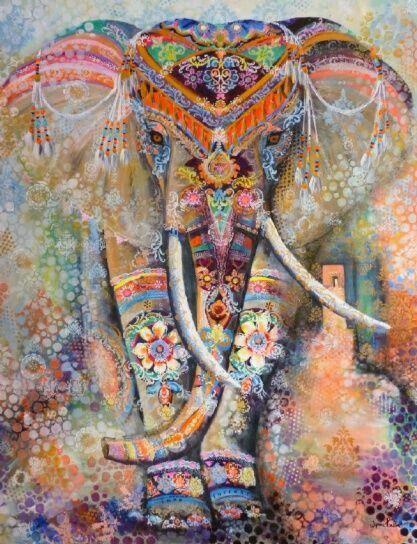 Indian Elephant Tapestry Aubusson Colored Printed Decor Mandala Religious Boho Wall Carpet LivingRoom Blanket Plus Size