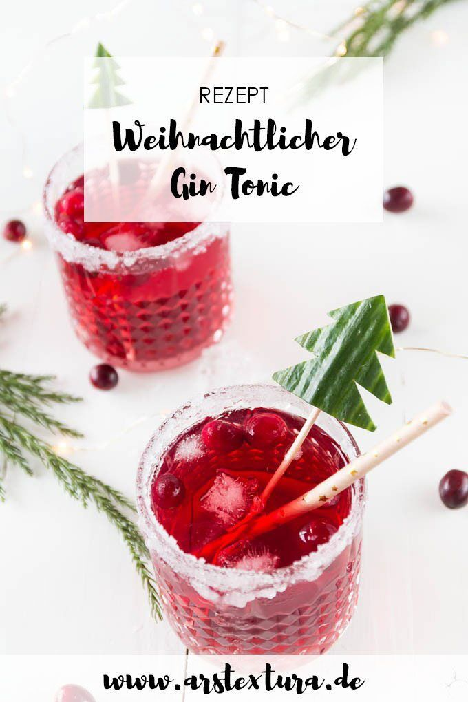 Weihnachtlicher Cranberry Gin Tonic - Aperitif zum Weihnachtsmenü #drinks
