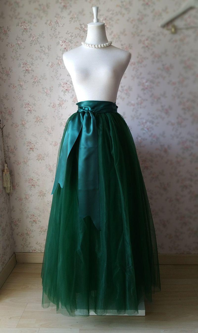 cb1a2cc8f Dressromantic DARK GREEN Full Tulle Maxi Skirt Women Plus Size Maxi Tulle  Skirt