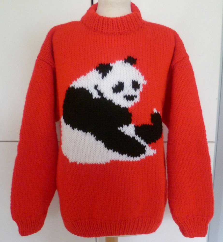 2e54997c059d Hand Knitted Red Jumper Sweater with cute Panda image by Bexknitwear   BEXKNITWEAR  Jumpers