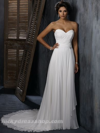 Simple White Sweetheart Natural Chiffon Wedding Dress With ...