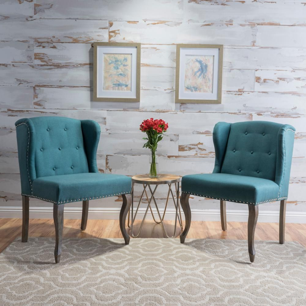 Noble House Niclas Button Back Dark Teal Fabric Winged Chairs With